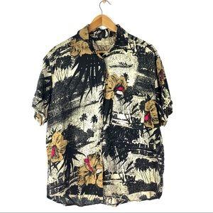 Vintage Guess 80's  Hawaiian Rayon Shirt